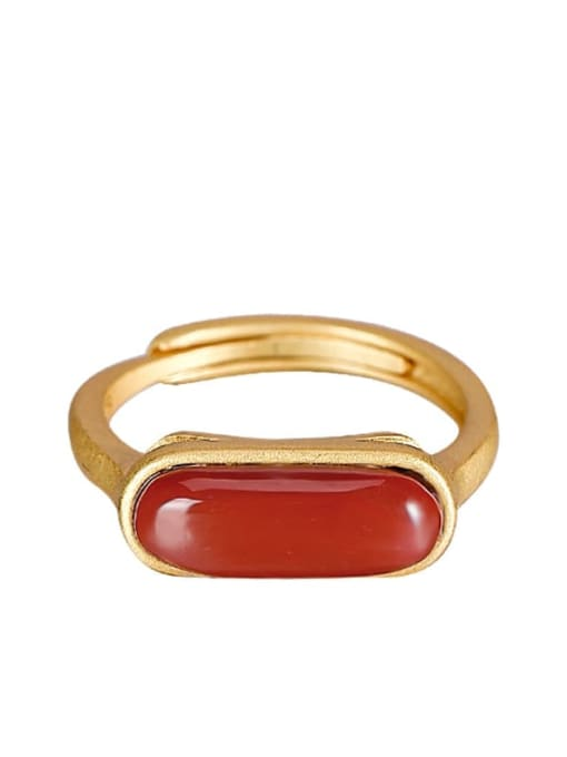 DEER 925 Sterling Silver Carnelian Geometric Minimalist Band Ring 4