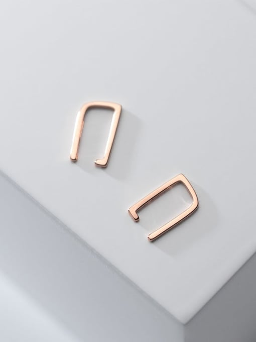 Rosh 925 Sterling Silver Smooth Geometric Minimalist Clip Earring 3
