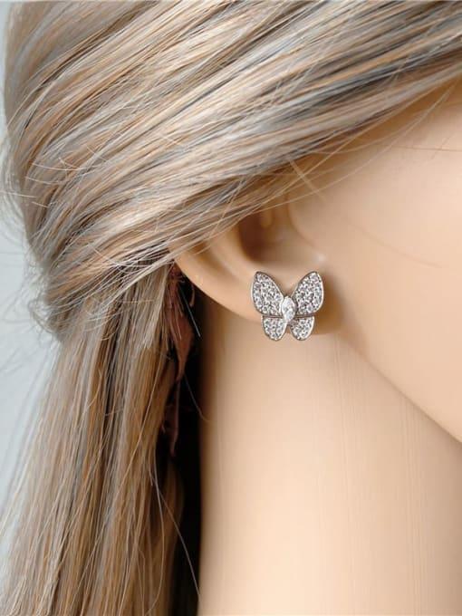 DUDU Brass Cubic Zirconia Butterfly Dainty Stud Earring 4