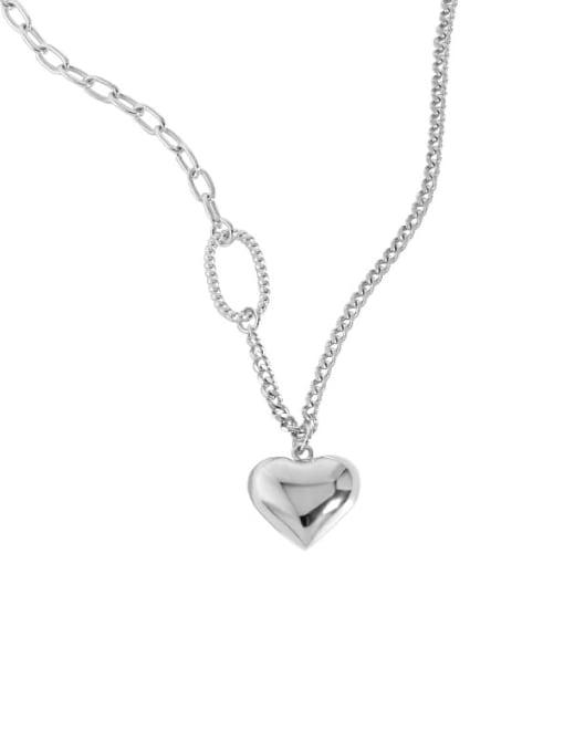 Plain silver 925 Sterling Silver Heart Minimalist Necklace