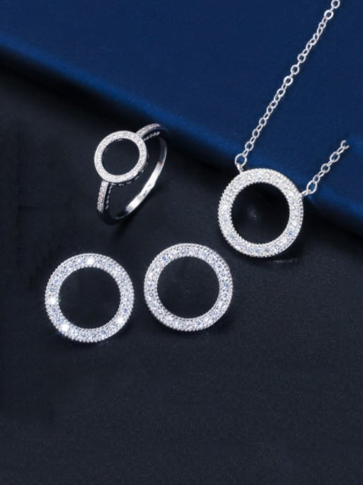 Size 9 white three piece set Brass Cubic Zirconia Luxury Round  Earring and Necklace Set