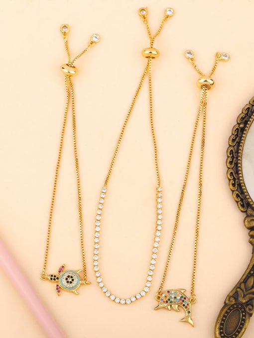 CC Brass Cubic Zirconia Turtle Cute Link Bracelet 4