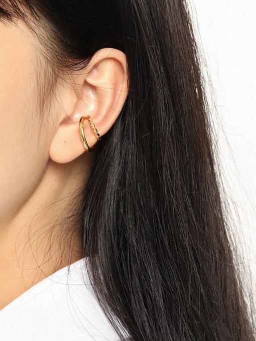 DAKA 925 Sterling Silver Geometric Minimalist C-shaped twist Clip Earring 2