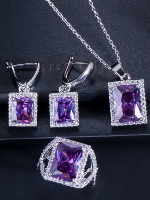 Purple ring size 7 Brass Cubic Zirconia Luxury Geometric  Earring Ring and Necklace Set
