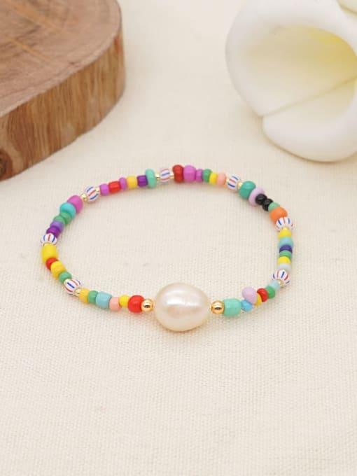 Roxi Stainless steel Freshwater Pearl Multi Color Geometric Bohemia Stretch Bracelet