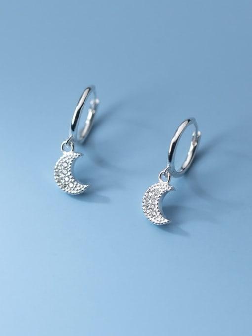 Rosh 925 Sterling Silver Cubic Zirconia Moon Vintage Huggie Earring 1
