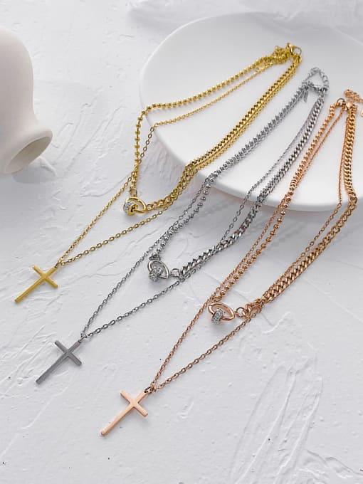Open Sky Titanium Steel Rhinestone Cross Minimalist Multi Strand Necklace 3
