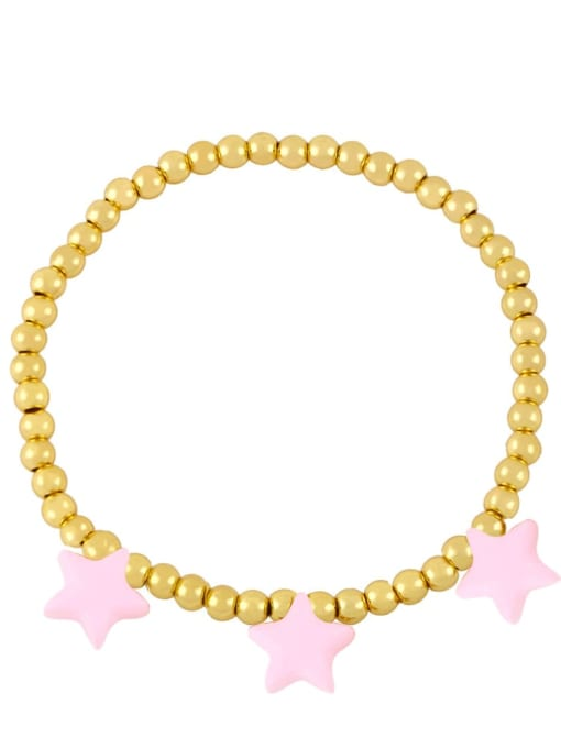 pink Brass Enamel Star Vintage Beaded Bracelet