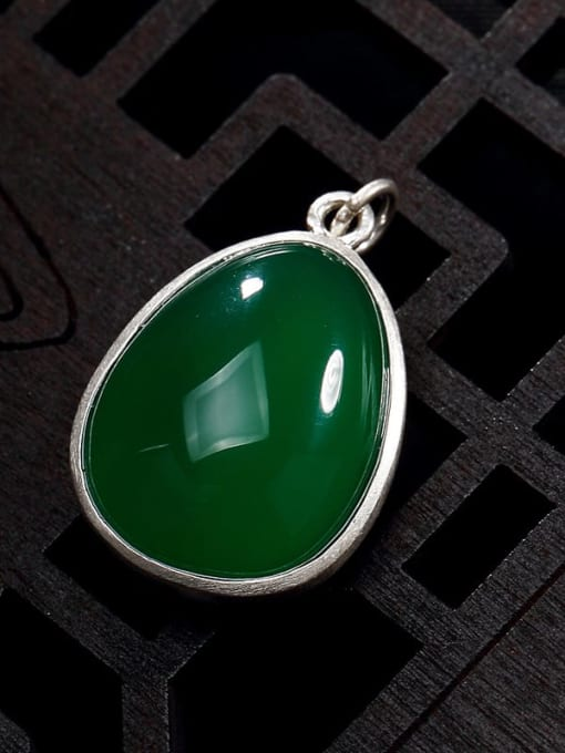 Green chalcedony 990 Sterling Silver Jade Vintage Water Drop Pendant
