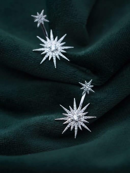 Rosh 925 Sterling Silver Cubic Zirconia Flower Minimalist Drop Earring 2