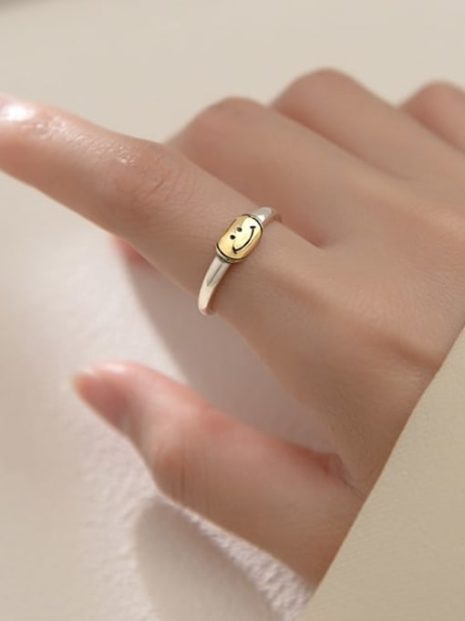 Rosh 925 Sterling Silver Smiley Minimalist Band Ring 1