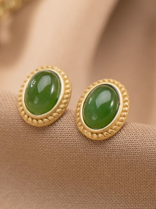 DEER 925 Sterling Silver Jade Oval Vintage Stud Earring 0