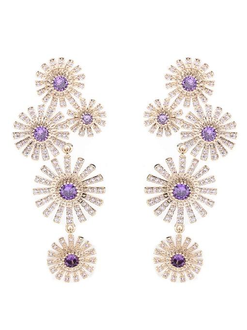 Luxu Brass Cubic Zirconia Flower Luxury Cluster Earring 3