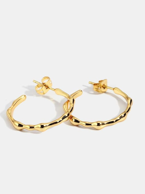 CHARME Brass Smooth  Geometric Minimalist Hoop Earring 0