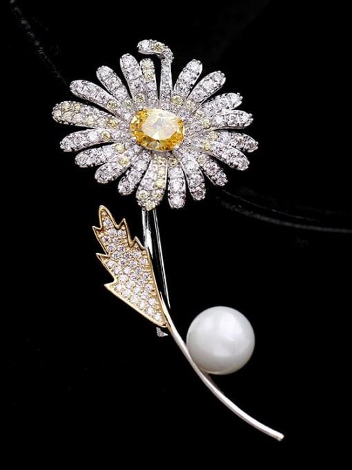 platinum Brass Cubic Zirconia Flower Statement Brooch