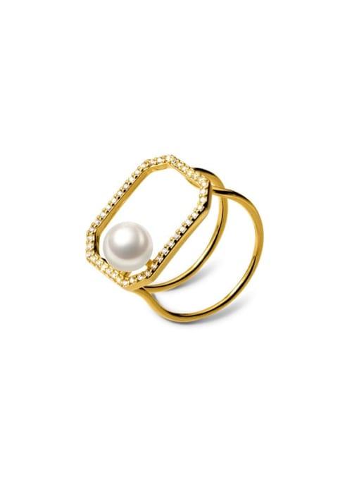 Rosh 925 Sterling Silver Imitation Pearl Geometric Minimalist Band Ring 3