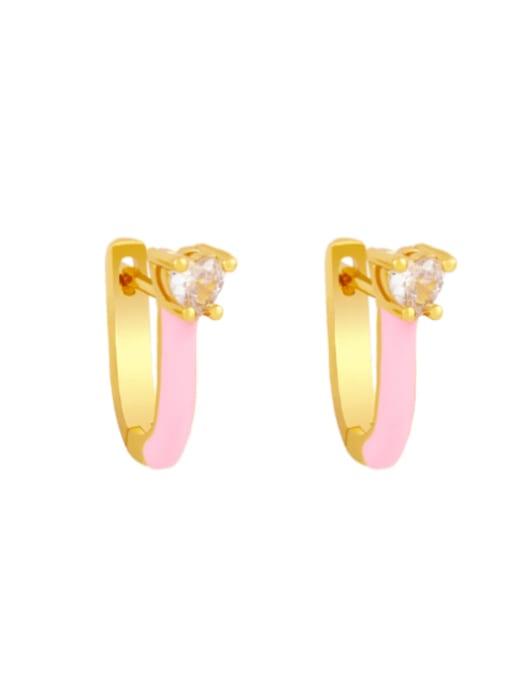 pink Brass Multi Color Enamel Heart Vintage Huggie Earring