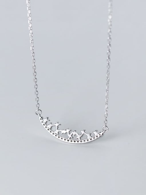 Rosh 925 Sterling Silver Rhinestone Geometric Minimalist Necklace 2