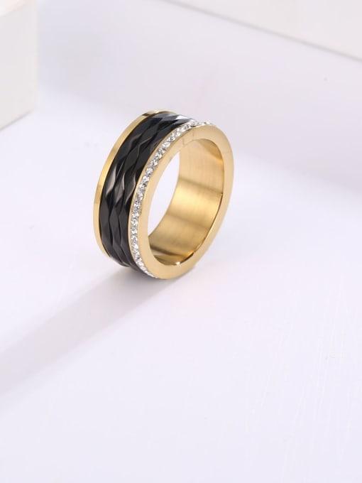 MIYA Titanium Steel Enamel Round Minimalist Band Ring 0