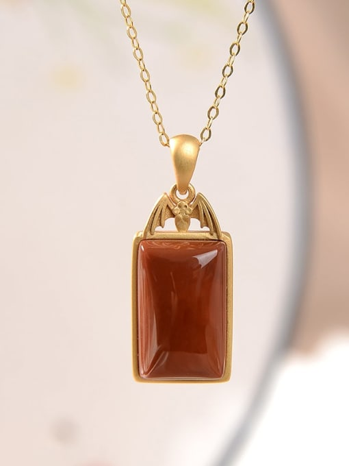 South Red (excluding chain) 925 Sterling Silver Carnelian Ethnic Geometric Pendant
