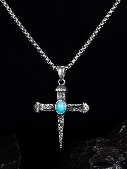 Open Sky Titanium Steel Turquoise Cross Hip Hop Necklace 1