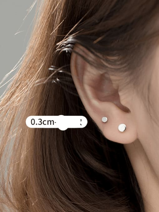 S925 silver pair Silver Small 925 Sterling Silver Round Minimalist Stud Earring