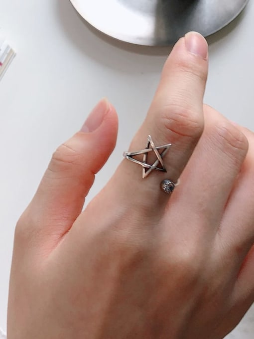 Boomer Cat 925 Sterling Silver Hollow Star Vintage Band Ring 1