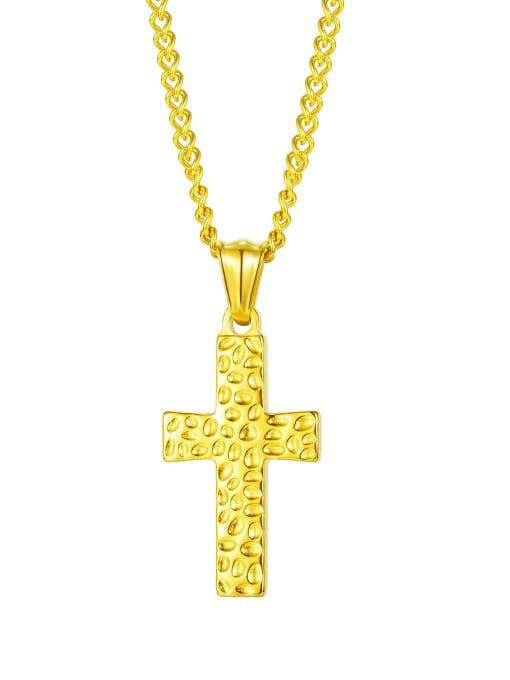 2001  Gold Pendant Chain Titanium Steel Cross Hip Hop Regligious Necklace