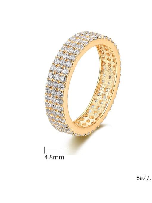 BLING SU Brass Cubic Zirconia Round Minimalist Band Ring 3