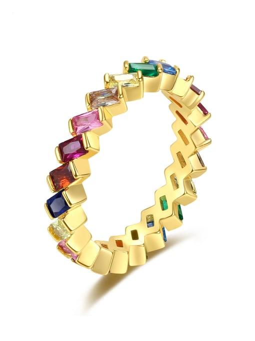 BLING SU Brass Cubic Zirconia Geometric Minimalist Band Ring 0