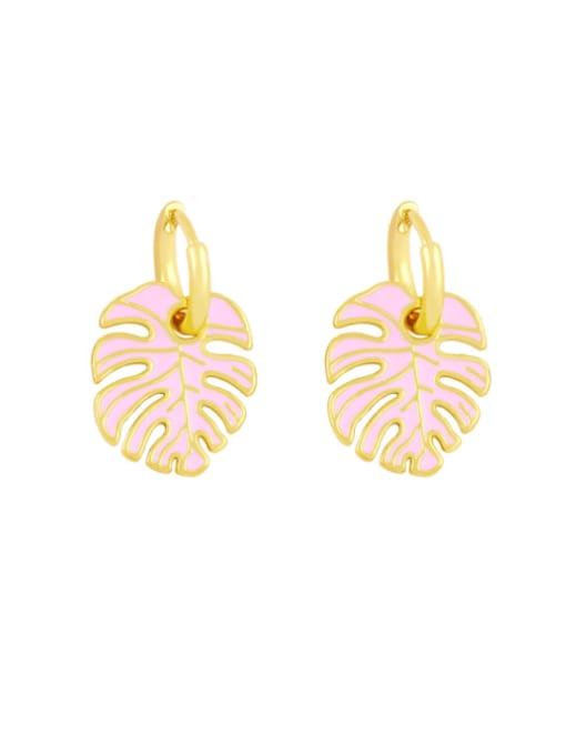 Pink Brass Enamel Tree  Leaf  Vintage Huggie Earring