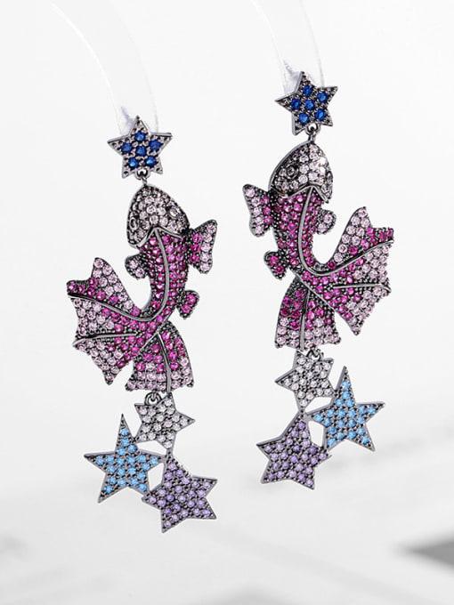 Gun black Brass Cubic Zirconia Fish Vintage Drop Earring