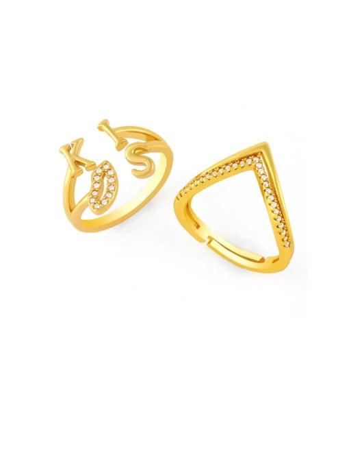 CC Brass Cubic Zirconia Geometric Vintage Band Ring 0