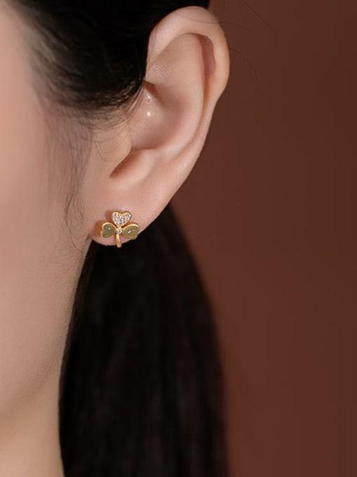 DEER 925 Sterling Silver Jade Clover Cute Stud Earring 2