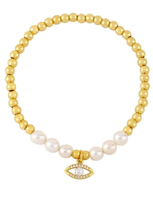 B Brass Imitation Pearl Heart Vintage Beaded Bracelet