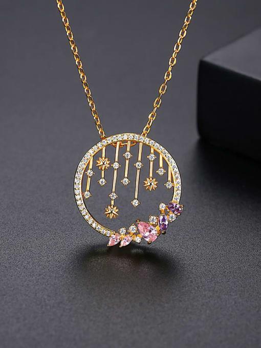 YTN 019 Brass Cubic Zirconia Geometric Vintage Necklace