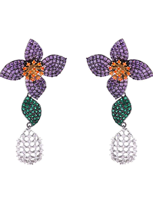 Luxu Brass Cubic Zirconia Flower Vintage Drop Earring 2