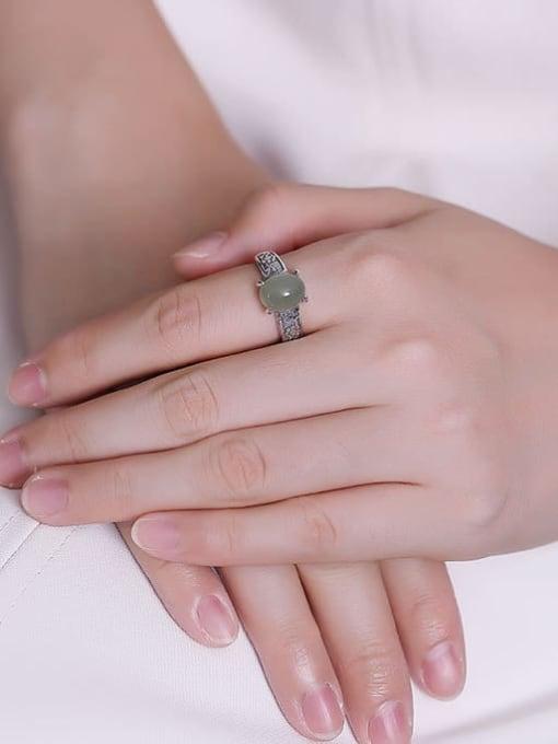 DEER 925 Sterling Silver Jade Irregular Vintage Band Ring 1