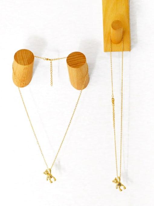CC Brass Cubic Zirconia  Vintage Bear Pendant Necklace 2