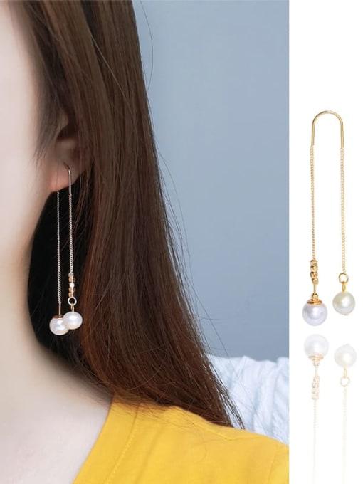 RAIN Brass Freshwater Pearl Tassel Minimalist Threader Earring 2