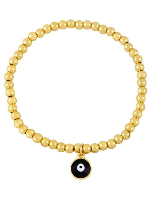 B (black eyes) Brass Bead Enamel Flower Hip Hop Beaded Bracelet