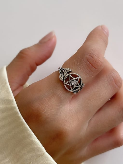 Five pointed star ring j156 2G 925 Sterling Silver Hollow Geometric Vintage Band Ring