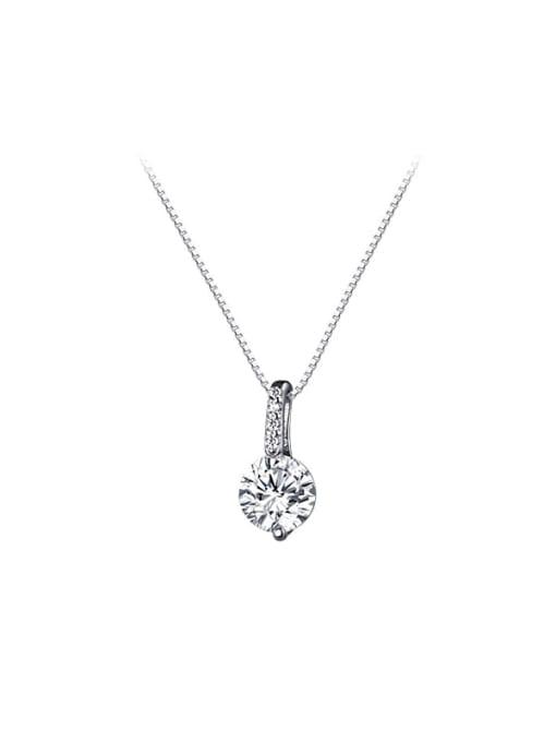 Rosh 925 Sterling Silver Rhinestone Round Minimalist Necklace 3