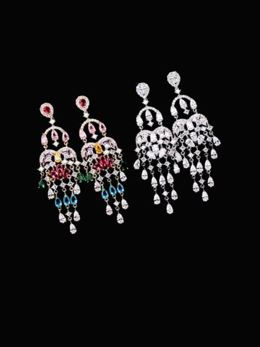 Luxu Brass Cubic Zirconia Tassel Ethnic Cluster Earring 4