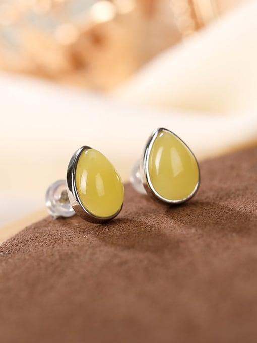DEER 925 Sterling Silver Opal Oval Vintage Stud Earring 3