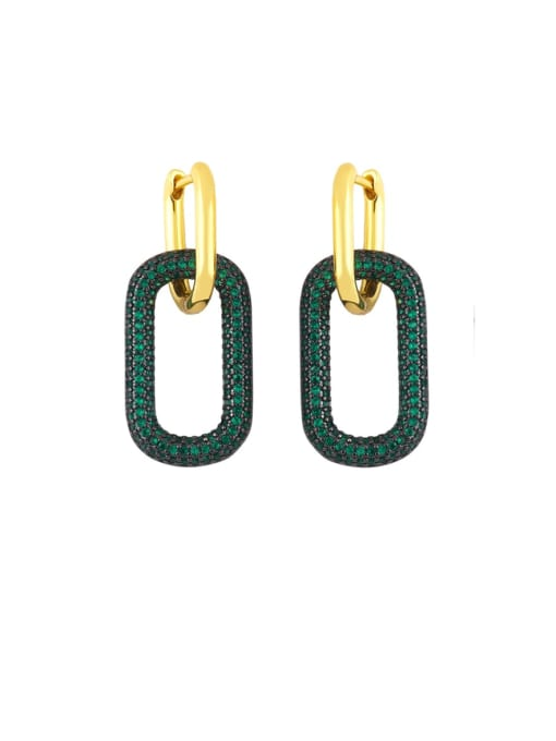 CC Brass Rhinestone Geometric Vintage Drop Earring 1