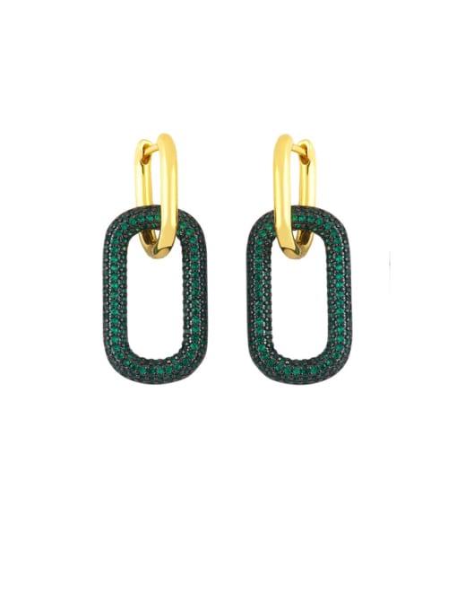 green Brass Rhinestone Geometric Vintage Drop Earring