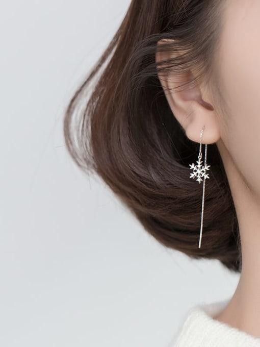 Rosh 925 Sterling Silver Flower Minimalist Threader Earring 1