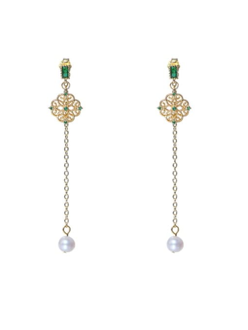 RAIN Brass Cubic Zirconia Tassel Cute Drop Earring
