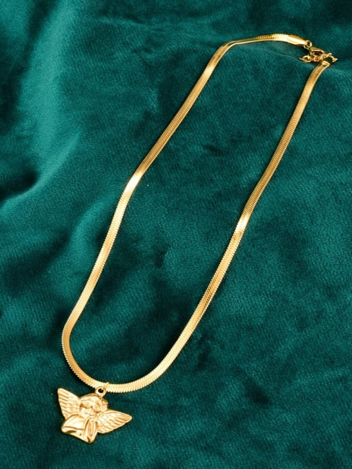 A TEEM Titanium  Cute  Angel Wing Pendant Necklace